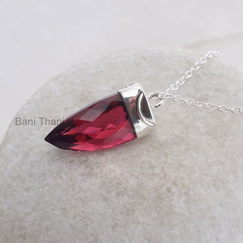 Handmade Point Pendant Jewelry, Superb Pink Tourmaline Quartz Point Shape 15x25mm 925 Sterling Silver Pendant Necklace #5060