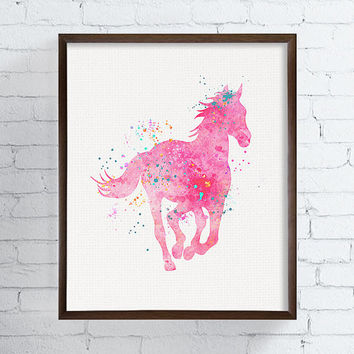 Horse Wall Art, Equestrian Girl Art, Girls Room Decor, Baby Girl Nursery, Girls Wall Art, Cowgirl Nursery, Western Girls Room, Pink Horse