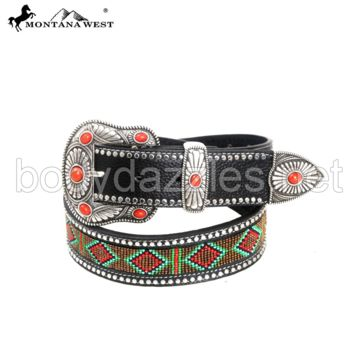 Montana West Western Aztec Hand Beaded Collection Belt Leather