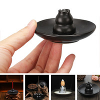 Multipurpose Black Ceramic Church Gourd Shape Assuaging Calming Incense Burner Smoke Holder Plate Home Decor New