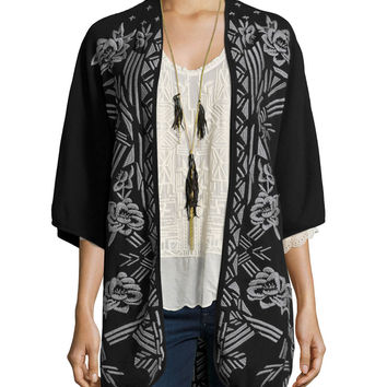 Nemara Embroidered Poncho, Size: