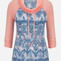 Patterned Cowl Neck Baseball Tee - Peach Melba Combo