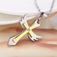 Fashion Personalized Cross Angel Wing Pendant Necklace Chain Vintage Retro Punk Man Women Jewelry Accessory = 1946884164