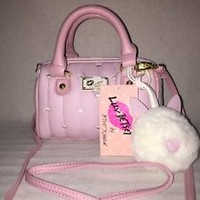 Betsey Johnson Pink & White Mini Barrel With Tiny Hearts & Detachable Strap