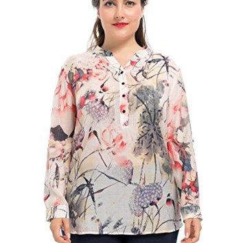 Chicwe Womens Plus Size Ink Wash Painting Rolled Long Sleeves Printed Blouse  Casual and Work Top