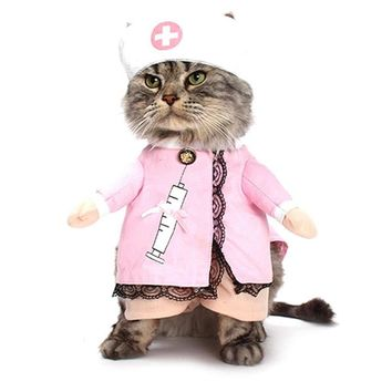 Pet Dog Cat Nurse Costume Pink Funny Halloween Party Fancy Costume