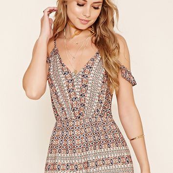 Ornate Print Open Shoulder Romper