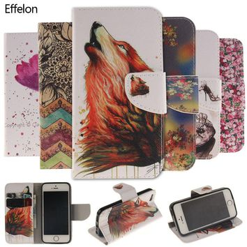 Effelon Colorful Painting Flip Leather Wallet Cover Case for iPhone 4 4s SE 5 5s 6 6s 7 plus phone Cases For Caque iPhone 8 plus