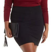 Plus Size Black High-Waisted Bodycon Mini Skirt by Charlotte Russe