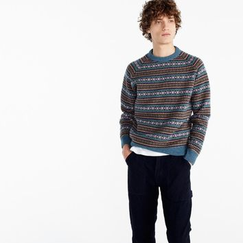 Lambswool Fair Isle crewneck sweater in teal
