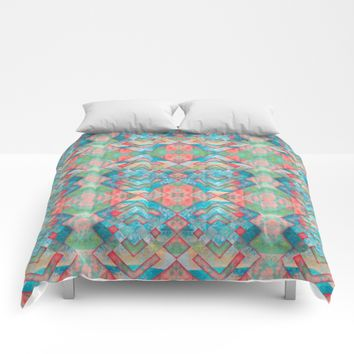 Abstract colorful pattern design Comforters by Jeanette Rietz