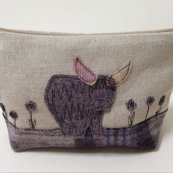 Linen and tweed make up bag with free hand machine embroidery highland cow