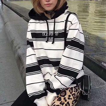Supreme Woman Men Fashion Stripe Hoodie Top Sweater Pullover