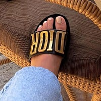 Dior Lady Logo Flat-soled Slippers and Sandals