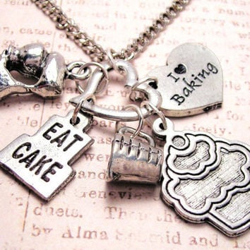 Eat cake cupcake  charm holder  necklace by MyTinyTemptations