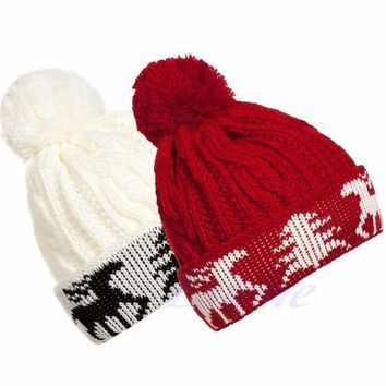 Free Shipping Fashion Women Christmas Deer Winter Warm Crochet Knitted Ski Beanie Ball Cap Hat Y107