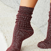 Out From Under Cozy Ribbed Shimmer Crew Sock | Urban Outfitters