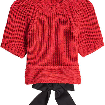 Cropped Open Back Knit Pullover - RED Valentino | WOMEN | KR STYLEBOP.COM