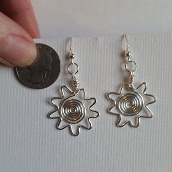 Handcrafted silver artistic wire sun earrings