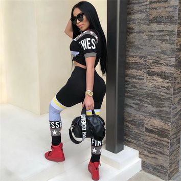 Fashion Women Two Piece Set Crop Top And High Waist Long Pant