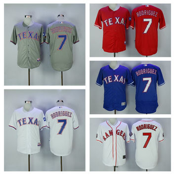 Throwback Texas Rangers Baseball Jersey 7 Ivan Rodriguez Jesrey Cool Base Shirts 7 Ivan 'Pudge' Rodriguez Blue White Retro Stitched Logos