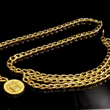 100% Authentic CHANEL Triple Chain Belt Rue Cambon Coco Charm N615