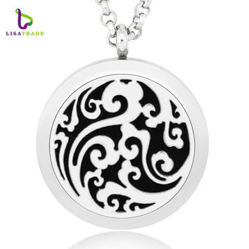 1PC 30MM Aromatherapy Locket Memory Photo locket Pendant For Perfume DIY (Free Chain & Pad) Stainless Steel  LSAR122-1-140-1