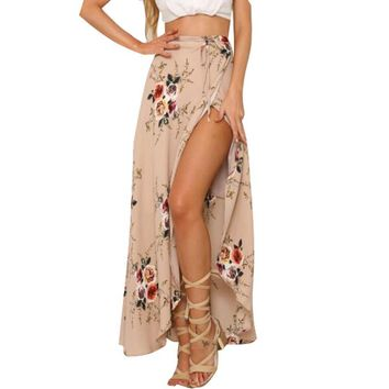 Women White Irregular Long Skirt 2017 Summer Boho Vintage Floral Print Side Slit Wrap Maxi Skirt Girl Waist Skirts female