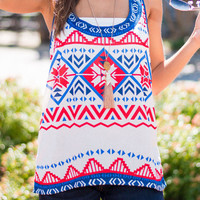Geometric Print Sleeveless Tank