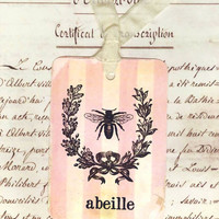 Vintage French Gift Tags Bee Abeille by Bluebird by Bluebirdlane