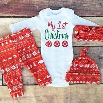 Newborn Infant Baby Boy Girl Clothes Romper Tops+Long Pants+Hat Outfits Xmas Set [8834008460]
