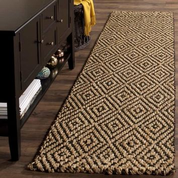 Safavieh Natural Fiber Diamond Weave Handmade Natural/ Black Jute Runner Rug - 2' 3 x 12' | Overstock.com Shopping - The Best Deals on Runner Rugs