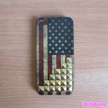 US flag iphone 5 case,Studded iPhone 5 Case, Vintage Flags iPhone 5 Case,  Studded Iphone Cases, America United States Flags iPhone 5 Case