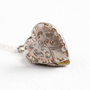 Vintage Heart Locket - Sterling Silver Necklace - WWII 1940s Mid Century Etched Sweetheart Pendant Dainty Photo Keepsake Photograph Jewelry