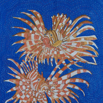 Art quilt wall hanging of two proud Lionfish.