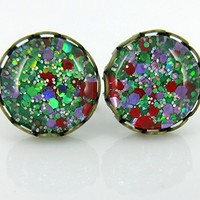 Antiqued Gold-tone Green Purple Red Glitter Glass Stud Earrings Hand-painted 10mm