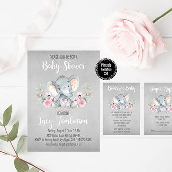 Printable Elephant Baby Shower Invitation, Watercolor Floral, Pink Elephant Baby Shower Printable Invitation, Rustic Baby Shower Invitation