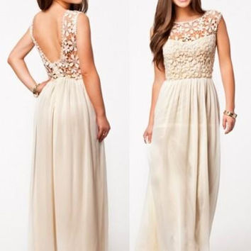 Fall Summer Autumn 2014 Women Ladies Fashion Sexy Lined Long Lace Dress gowns vintage elegant Homecoming Prom