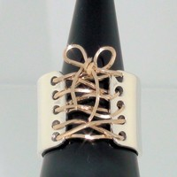 Auralee's Corset Ring Sterling Silver 14K Gold Wide Band FREE SHIPPING