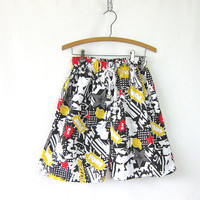 Vintage long BOOM Bang Pow comic speech bubbles shorts. fabric graphic shorts pjs pajama shorts lounge retro hipster