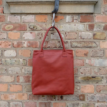 Leather tote bag - Red leather handbag - Leather shopping bag - Zipper bag - Red tote - Buttery soft leather - Only 1 made