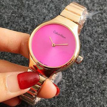 ONETOW CK Calvin Klein Watch man women  fashion Watch F-Fushida-8899 Rose gold-rose red face