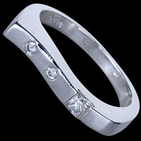 Silver ring, CZ, wave design