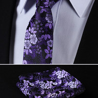 "TF2005P7 Purple Skinny Floral 2.75"" 100%Silk Woven Slim Skinny Narrow Men Tie Necktie Handkerchief Pocket Square Suit Set"
