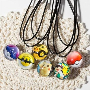 ac NOOW2 Hot Glass Jewelry Eevee Pokeball Necklace Pokemon Ball Pendant Personalized Picture Necklaces