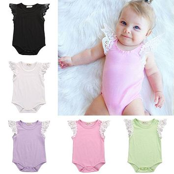 Cotton Newborn Baby Girls Romper Toddler Lace Shoulder Sleeveless Jumper Romper Jumpsuit Baby Summer Clothes