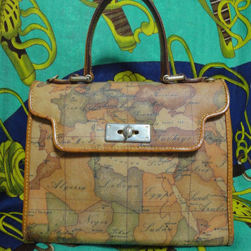 Vintage Alviero Martini, Prima Classe Vintage EU, South Europe, middle east, and north Africa  map focused Kelly style handbag.