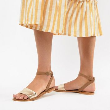 ASOS DESIGN Florence leather flat sandals at asos.com