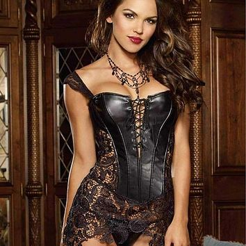 Fashion Sexy Women Corset With Thong 2017 Faux Leather Black Lace Shaper Bustier Plus Size S-6XL New Macchar Cosplay Catalogue