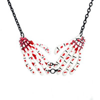 White Bloody Skeleton Hands Necklace